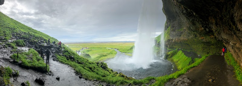 Panorama of Seljalandsfoss Waterfalls
