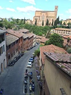 Winding street in Siena